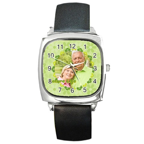 Nature Life By May   Square Metal Watch   G54ev88r2rk7   Www Artscow Com Front