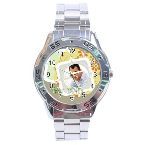 My Dad By Wood Johnson   Stainless Steel Analogue Watch   96pfin4nbhue   Www Artscow Com Front
