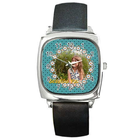 Beautiful Girl By May   Square Metal Watch   Aeu6dc3o9mot   Www Artscow Com Front