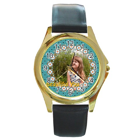 Beautiful Girl By May   Round Gold Metal Watch   Vzm8d1x8csf5   Www Artscow Com Front