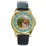 beautiful girl - Round Gold Metal Watch