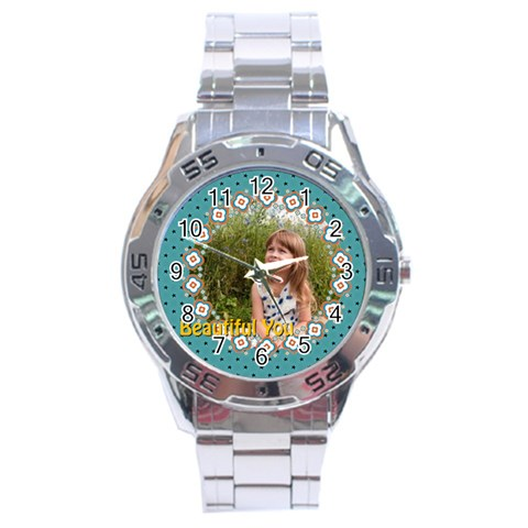 Beautiful Girl By May   Stainless Steel Analogue Watch   2pphyosnakxl   Www Artscow Com Front