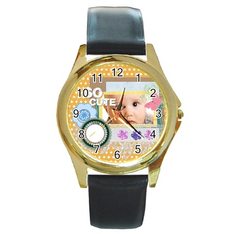 So Cute By Joely   Round Gold Metal Watch   Cxeo72m62kxq   Www Artscow Com Front