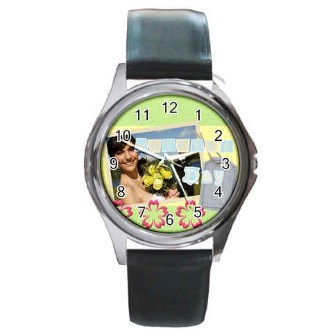 Flower By Jacob   Round Metal Watch   Ye1puj7rmzjq   Www Artscow Com Front