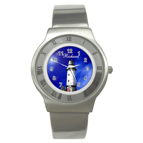 Silver Lighthouse Watch By Kim Blair   Stainless Steel Watch   Iw0xdiquh6mm   Www Artscow Com Front