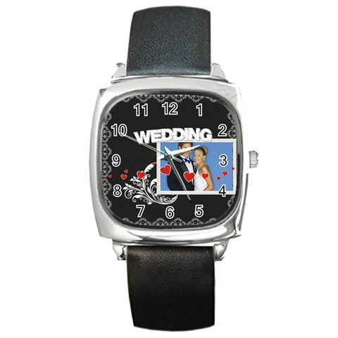 Wedding By Joely   Square Metal Watch   P7565goouioc   Www Artscow Com Front