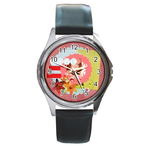 Love By Joely   Round Metal Watch   Grsihldeg8jq   Www Artscow Com Front
