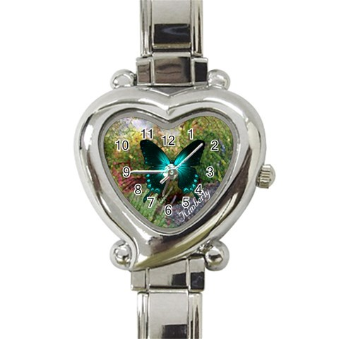 Flower Garden Butterfly Watch By Kim Blair   Heart Italian Charm Watch   6tq67p8hcj3o   Www Artscow Com Front