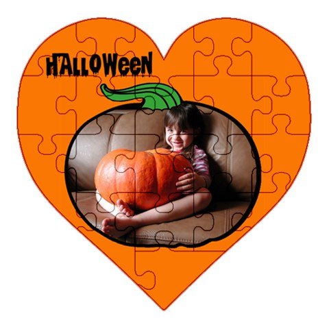 Puzzle Pumkin By Carmensita   Acrylic Heart Puzzle  (8  X 8 )   Eubt75nv2d3f   Www Artscow Com Front