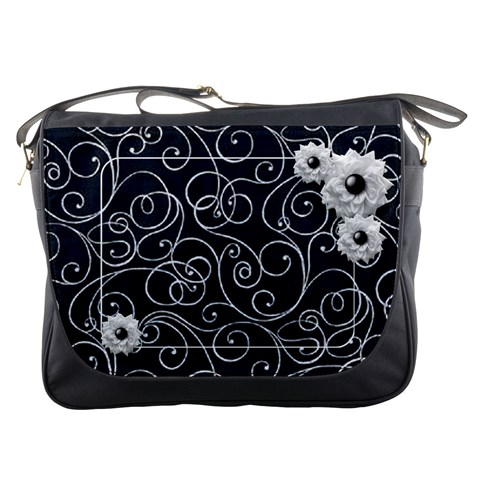 Swirly White Flower Messenger Bag By Laurrie   Messenger Bag   Ekbykxrgfzh3   Www Artscow Com Front