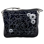Swirly White Flower Messenger Bag