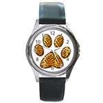 Tiger Paw Round Metal Watch