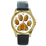 Tiger Paw Round Gold Metal Watch