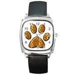 Tiger Paw Square Metal Watch