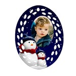 Snowmen Filigree Oval Ornament - Ornament (Oval Filigree)