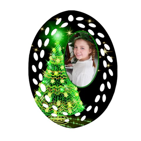 Green Christmas Tree Filigree Oval Ornament by Deborah Front