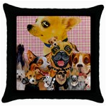 Dogs Are Fun  Throw Pillow Case (Black)