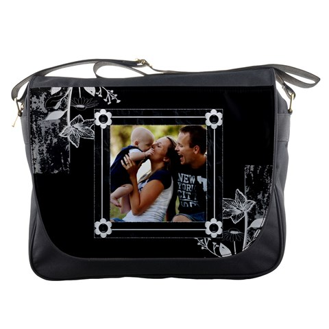 Black And White Messenger Bag By Lil    Messenger Bag   Mhmzdff1juje   Www Artscow Com Front