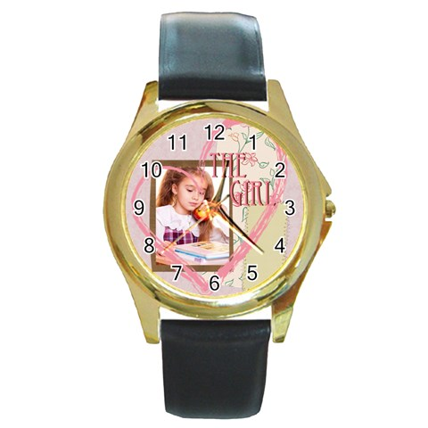 The Girl By Joely   Round Gold Metal Watch   Kzq3u2t7kmto   Www Artscow Com Front