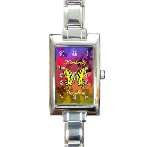 Butterfly Shadows Watch By Kim Blair   Rectangle Italian Charm Watch   Zif6sdpdkp74   Www Artscow Com Front