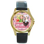 with love - Round Gold Metal Watch