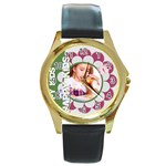 happy kids - Round Gold Metal Watch