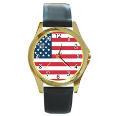 Flag Black Leather Gold Rim Watch (round) by tammystotesandtreasures