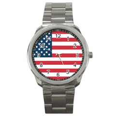 Flag Stainless Steel Sports Watch (round) by tammystotesandtreasures