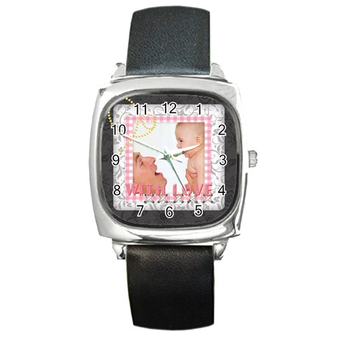 With Love By Joely   Square Metal Watch   Zbxwjmklexhz   Www Artscow Com Front
