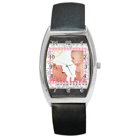 With Love By Joely   Barrel Style Metal Watch   6snl3jd84yh8   Www Artscow Com Front
