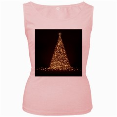Christmas Tree Sparkle Jpg Pink Womens  Tank Top by tammystotesandtreasures