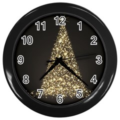 Christmas Tree Sparkle Jpg Black Wall Clock by tammystotesandtreasures