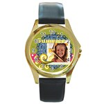 summer - Round Gold Metal Watch