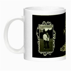 Black white frill Night Luminous Mug by Ellan Left