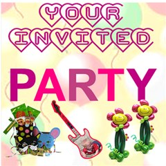 Invite Party By Malky   Party 3d Greeting Card (8x4)   Cdx2csfxh79g   Www Artscow Com Inside