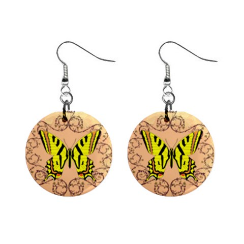 Yellow Butterfly Earrings By Kim Blair   1  Button Earrings   S03oa2byn192   Www Artscow Com Front
