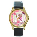 pink world - Round Gold Metal Watch