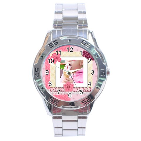 Pink World By Joely   Stainless Steel Analogue Watch   4i7z378pd7ya   Www Artscow Com Front