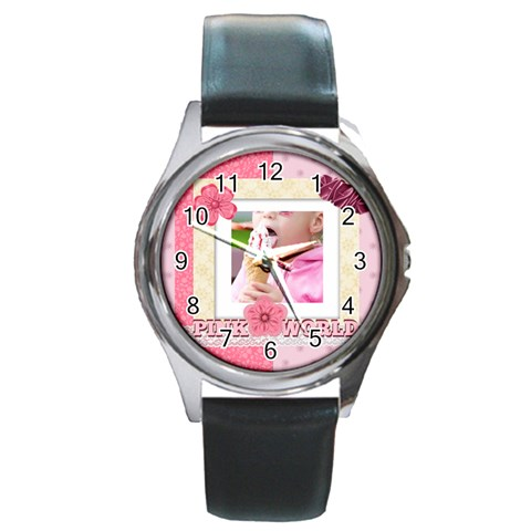 Pink Kids By Joely   Round Metal Watch   3psqqon8cawu   Www Artscow Com Front