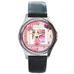 pink kids - Round Metal Watch