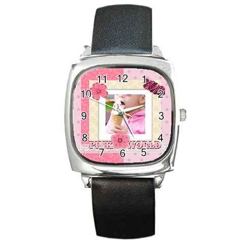 Pink Kids By Joely   Square Metal Watch   12p47f6uq4vk   Www Artscow Com Front