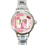 pink world - Round Italian Charm Watch