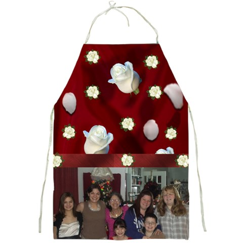 red Satin and white rose Full Print Apron by Kim Blair Front