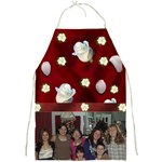 red Satin and white rose Full Print Apron