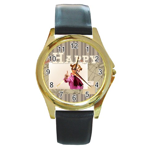 Happy Day By Joely   Round Gold Metal Watch   Kdqc26rinavf   Www Artscow Com Front