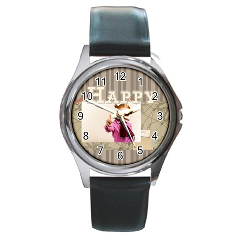 Happy Day By Joely   Round Metal Watch   Jqkiyb1irds4   Www Artscow Com Front