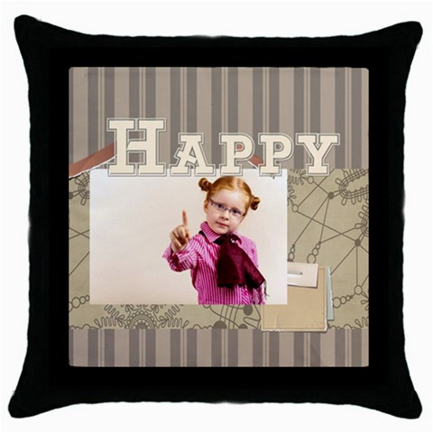 Happy Day By Joely   Throw Pillow Case (black)   Nojwksnv80a9   Www Artscow Com Front