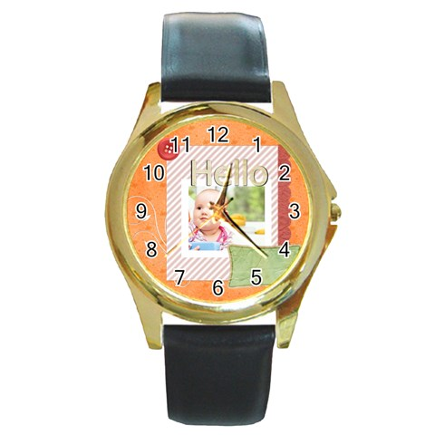 Hello By Joely   Round Gold Metal Watch   Tra5jnnwfwek   Www Artscow Com Front