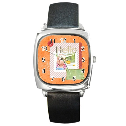 Hello By Joely   Square Metal Watch   4c55bnprdllt   Www Artscow Com Front