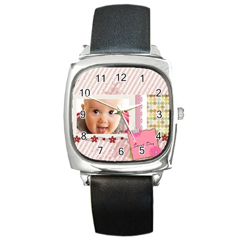Sweet Day By Joely   Square Metal Watch   463p8vm3z7gg   Www Artscow Com Front